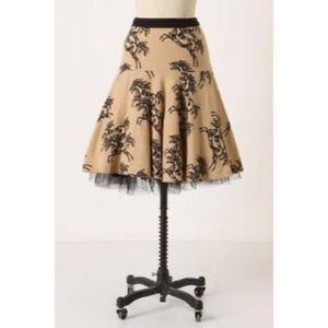 Anthro Size 10 Odille Linen Majestic Horse Skirt